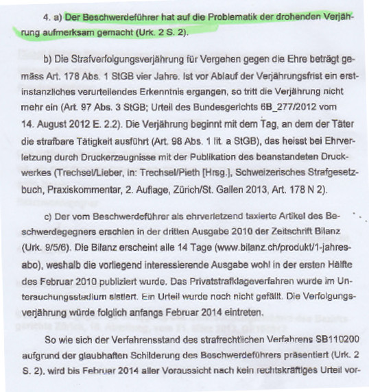 Zurich High Court warns Lower Court about approaching statute of limitations deadline in Rudolf Elemr vs Leo Muller